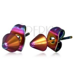 Fényes acél fülbevaló szivárvány színekben, csúcsok
