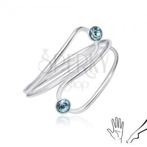 Ezüst gyűrű kézre vagy lábra, világoskék cirkóniák könnycsepp körvonalban
