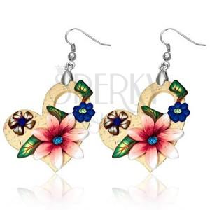 FIMO fülbevaló, asszimetrikus szívek szines virágokkal és kövekkel