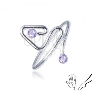 Gyűrű 925 ezüstből, behajlított vonal lila kő befejezéssel