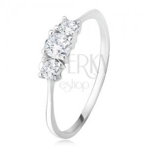 Gyűrű 14K fehér aranyból - három csiszolt kerek cirkónia