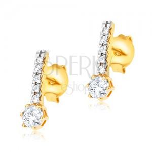 Arany fülbevaló, vékony cirkóniás sáv, kerek átlátszó cirkóniák a foglalatban