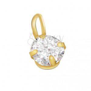 Arany medál, díszesen csiszolt kerek átlátszó cirkónia