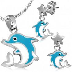 Acél szett - fülbevaló és medál, ugró delfin