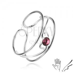 Gyűrű 925 ezüstből, hullámok rózsaszín kővel