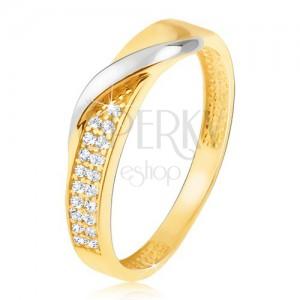 Arany gyűrű - apró cirkóniás sáv, hullámos vonal fehér aranyból