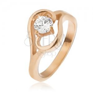 Arany színű acél gyűrű, hullámmal befejezett szárak, átlátszó cirkónia