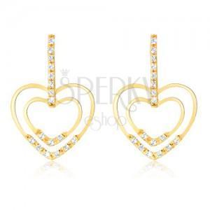 Fülbevaló 14K sárga aranyból - cirkóniás sáv, fényes szívkörvonal, kövek