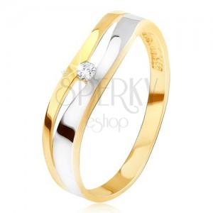 Gyűrű 14K aranyból, hullámos kettőzött vonal, átlátszó cirkónia, kétszínű