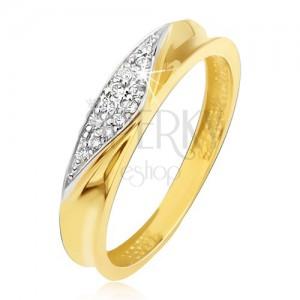 Gyűrű 14K sárga aranyból - gyűrű bemélyedt középpel, cirkóniás háromszög