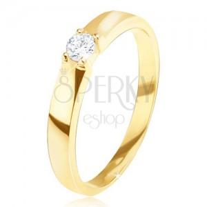 Arany gyűrű - fényes, sima, kerek átlátszó cirkónia a foglalatban