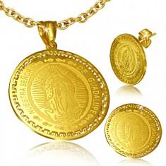 Arany színű szett - fülbevaló és medál Szűz Mária mennybemenetelével