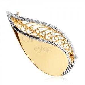 Bross 14K sárga aranyból - csillogó könnycsepp filigrán díszítéssel