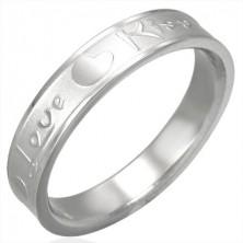 Ezüst színű acél gyűrű, matt közép és fényes szélek, Love & Kiss