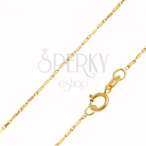 Arany nyaklánc - fényes hosszúkás hasáb alakú elemek, 400 mm
