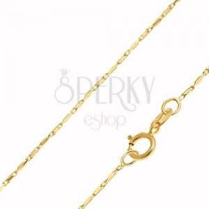 Arany nyaklánc - fényes hosszúkás hasáb elemek, 450 mm