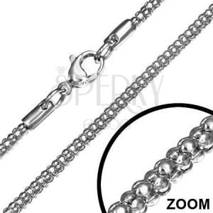 Ezüst színű nyaklánc acélból, kígyó minta, 2,4 mm