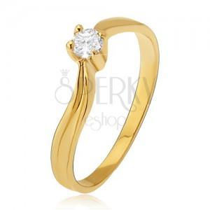 Arany gyűrű - fényes hullámos szárak, bemélyedés, átlátszó kő