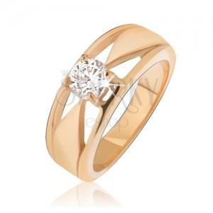 bdf7c4e6d Arany színű acél gyűrű, átlátszó cirkónia, háromszöges kivágások ...