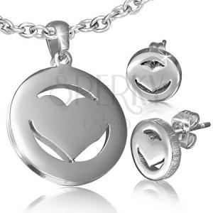 Sebészeti acél szett - fülbevaló és medál, szimmetrikus szív a körben
