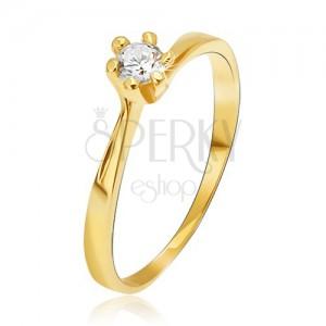 Gyűrű 14K sárga aranyból - keskenyített szárak a foglalatnál, kerek kő