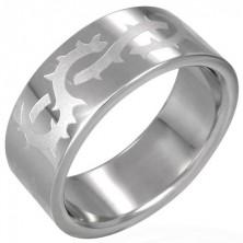 Gyűrű sebészeti acélból - matt töviskorona mintázat