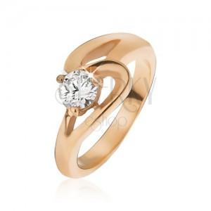 95b94c0f3 Arany színű acél gyűrű, hullámos vonal és átlátszó cirkónia   Ekszer ...