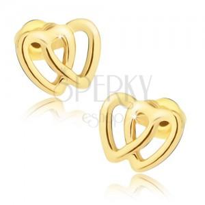 Arany színű fülbevaló, kettős szívkörvonal