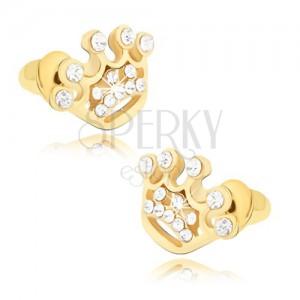 Beszúrós fülbevaló arany színben, cirkóniás korona