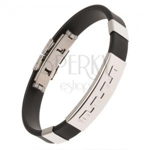 Fekete színű gumi karkötő, acél tábla fogas mintával