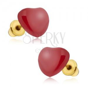 Fülbevaló - szabályos piros fénymázas szív
