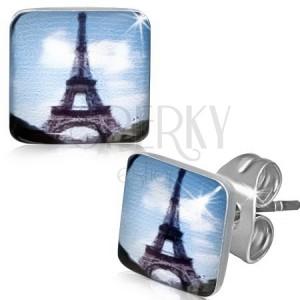 Négyzetes acél fülbevaló Eiffel toronnyal