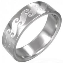 Gyűrű sebészeti acélból - matt hullám mintázat