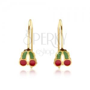 Arany fülbevaló - csillogó cseresznyék, zöld-piros fénymáz