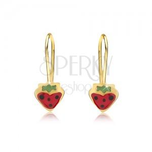 Arany fülbevaló - piros-zöld eprecskék fekete színű pöttyökkel, fényes máz