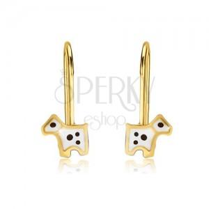 Fülbevaló 9K sárga aranyból - fénymázas fehér kutyus fekete színű foltokkal