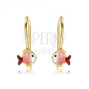 Arany fülbevaló, fehér rózsaszín-piros halacska, fényes máz