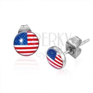 Kerek acél fülbevaló, amerikai zászló