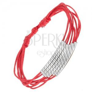 Piros zsinóros multikarkötő, vésett hengerek