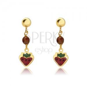 Arany fülbevaló - lapos piros-zöld eprecske, golyó, fénymáz