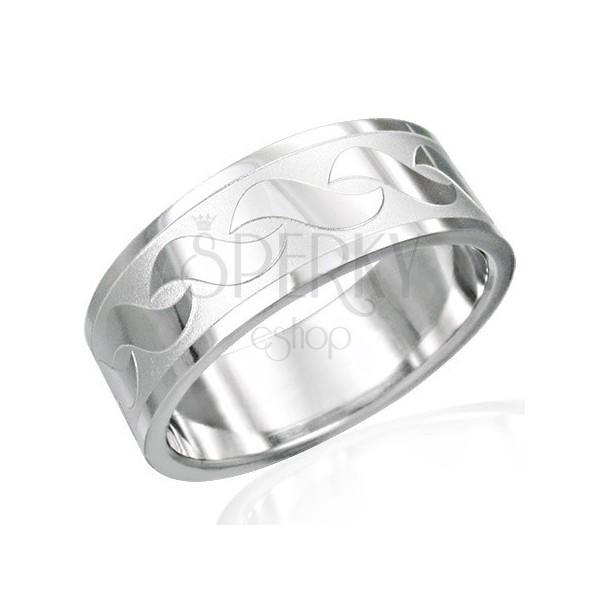 Gyűrű nemesacélból - fényes S alakú mintázatok