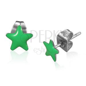 Beszúrós acél fülbevaló, zöld fénymázas csillagok