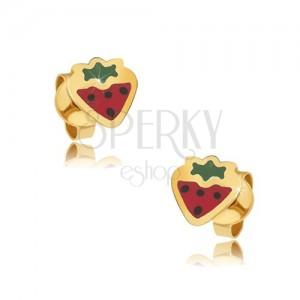 Arany beszúrós fülbevaló - lapos piros-zöld eper, fényes máz