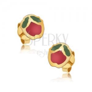 Fülbevaló 9K sárga aranyból - csillogó piros-zöld fénymázas almák