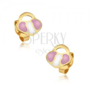 Arany beszúrós fülbevaló - rózsaszín-fehér szív tábla, fényes máz