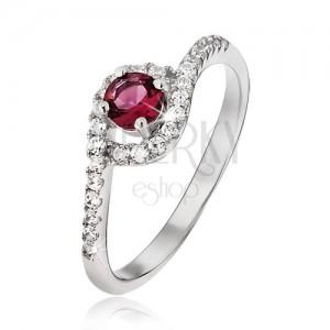Gyűrű 925 ezüstből - cirkóniás szárak behajlított véggel, piros kő