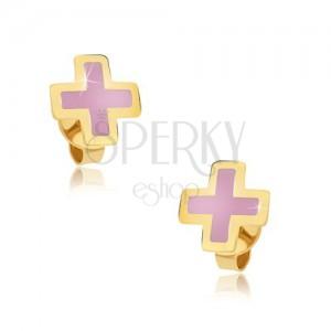 Arany fülbevaló - egyenlőszárú rózsaszín kereszt, fénymázas felszín