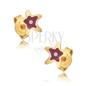 Fülbevaló 9K sárga aranyból - lapos piros tengeri csillag, fénymáz