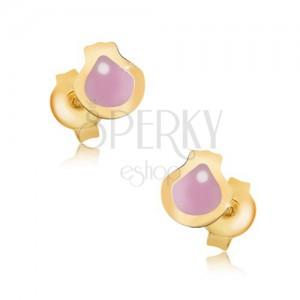 Arany fülbevaló - lapos fénymázas rózsaszín kagyló