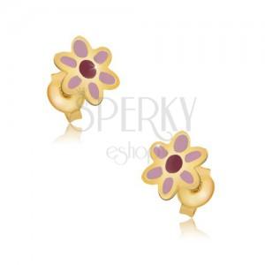 Fülbevaló 9K aranyból - rózsaszín-piros virág, fényes máz